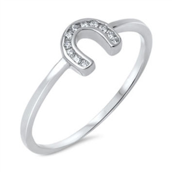 925 Sterling Silver CZ Simulated Diamond Channel Horseshoe Ring 6MM