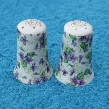 Vintage Violet Pattern Lefton China Salt and Pepper Shakers