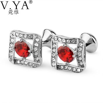 V.Ya Luxury Synthetic CuffLinks for Shirts Cuff links Exquisite Button High Quality Copper 1 Pair New Fashion Cuff-links XK43
