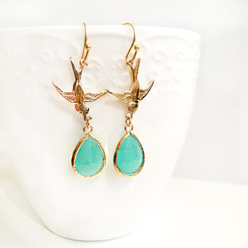 Bird Earrings, Gold, Aquamarine Birthstone Jewellery, Wedding, Seafoam, Bridal Earrings, Mama, Mother, Gift for Her, Dangle Earrings, Bride