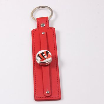2018 Fashion US Football Key Ring Cincinnati Bengals Keychain 8 Color Leather Keychain With 18mm Snap Button for Women Men
