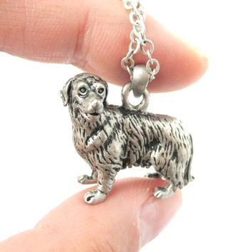 Realistic Golden Retriever Puppy Dog Shaped Animal Pendant Necklace in Silver