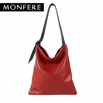 MONFERE real genuine leather bag casual hobo soft skin cowhide shoulder bags leisure large luxury handbags women bags designer