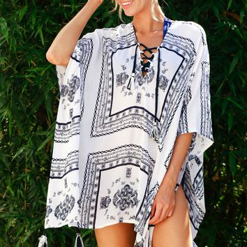 Lace Up Fringe Print Dress Off White