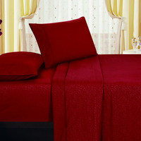 1800 Series Embossed Egyptian Vine Design 3-Piece Sheet Set Twin - Burgundy