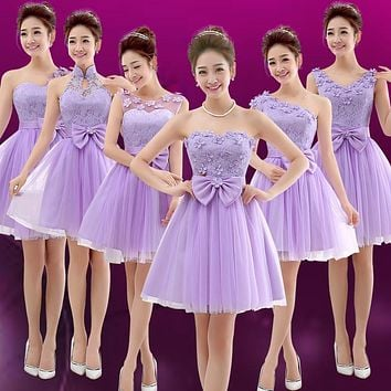 2017 new arrival short bridesmaid dress women formal gown violet one shoulder with bow appliques cute modesty for adult sisters