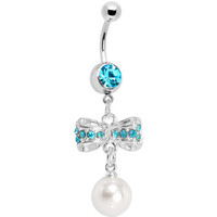 Aqua Gem Sparkling Bow Faux Pearl Belly Ring | Body Candy Body Jewelry