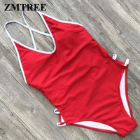 Solid Color Bathing Suit Backless Bodysuit Women One Piece Swimwear Cross Back Swimsuit Hollow Out Beach Wear