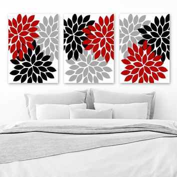 Red Black Gray Wall Art, Red Black Bedroom Wall Decor, CANVAS or Prints Red Bathroom Decor, Red Gray Black Home Decor Set of 3 Flower Bursts