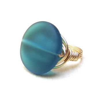 Teal Sea Glass Ring  Brass Wire Wrapped by SherryKayDesigns
