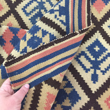 Antique 3x4 Kilim Prayer Rug / Vintage Flat Weave Textile / Tapestry / Pink, Blue and Brown Print / Cross Plus Diamond Pattern