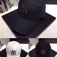 """New York Yankees"" Women Casual Fashion Diamond Letter Logo Baseball Cap Flat Cap Sun Hat"