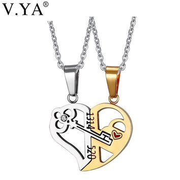 V.Ya Romantic Couples Heart Key Crystal Necklaces Her & His Love Forever Pendant Set Valentine Stainless Steel Chain Jewelries