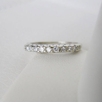 14k Solid White Gold Vintage Natural Diamond Antique Genuine Diamonds Art Deco Edwardian birthstone stacking wedding band ring
