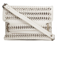 Woven Chain Clutch in White