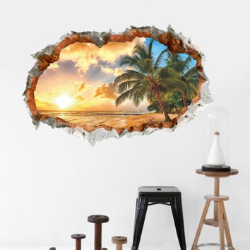Original 3D Broken Wall Palm Trees Sunset Wall Sticker