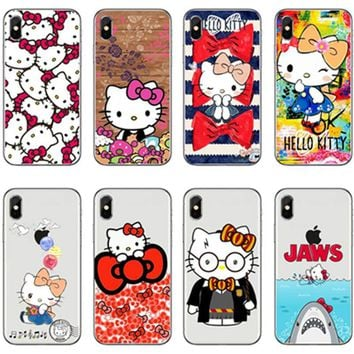 Cartoon Cute Hello kitty Transparent plastic case for iphone 6s 6 Plus 5s SE Full Body Protection coque For iphone X 7 8 Plus