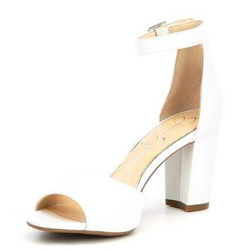 Jessica Simpson Sherron Leather Ankle Strap Block Heel Sandals | Dillards