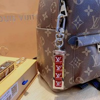 LV Tide brand joint name Supreme men and women models fashion wild dice keychain Silver+black