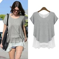 Asymmetrical Short-Sleeve Layered Shirt