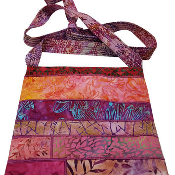 Large Cross Body Hip Purse in Pink Batik