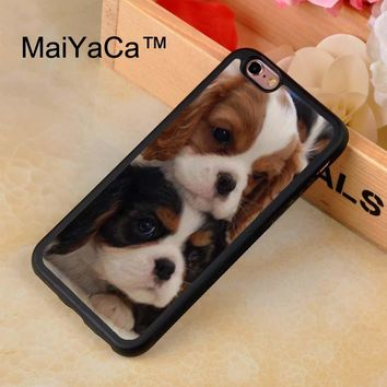 MaiYaCa King Charles Spaniel Puppy Dogs Rubber Phone Case For iPhone 7 TPU Cases Back Cover Capa Coque For iPhone 7 Case