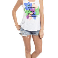 London Paris Barcelona Floral Pop Graphic Tank Top