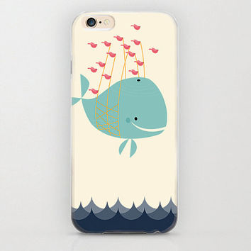 Whale Carried by Fish iPhone 6 Case Adorable Gift Idea and Protective Phone Case with Style, Marine Life, Aqua Blue, Mint Green Color Beige