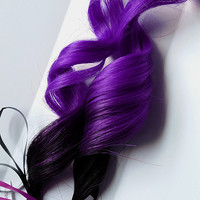 2x Purple Blossom #1B Black 100% human hair Clip In extensions Straight Human Hair Extensions