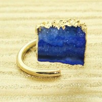 D10419 Super Sale Natural Blue Agate Slice Druzy 24k Gold Plated Adjustable Ring