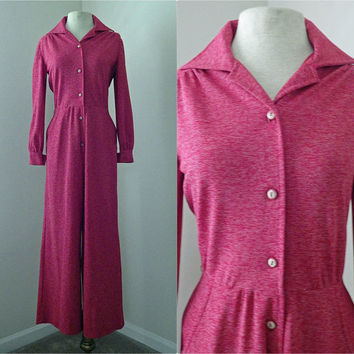 Vintage Homemade 70s Heathered Red Pink Jumpsuit // Polyester Button Down Pant Suit // Long Sleeve // Small Medium