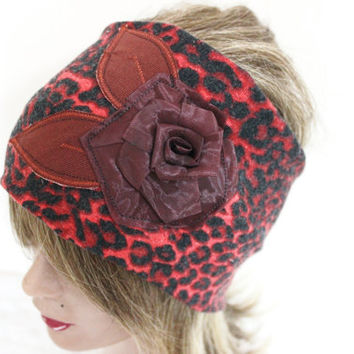 Leopard headband, black red head, Stretch head, handmade headband, mohair headband, Stretch head, Bohemian Head, Head Wrap, Large Head
