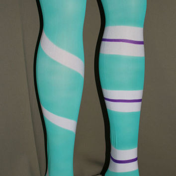 Vanellope style airbrushed thigh high stockings