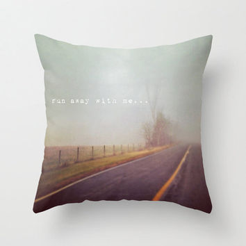 Pillow Cover, Photo PIllow, Typography, Run Away With Me, Home Decor, Soft Grey, Wanderlust, Travel, Living Room, Bedroom, 16x16, 18x18
