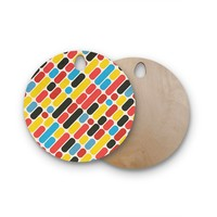 "Tobe Fonseca ""Colorful Trend Pattern"" Red Yellow Digital Round Wooden Cutting Board"