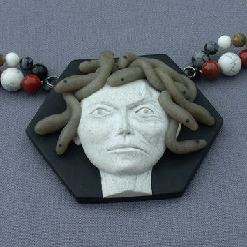 Gorgon Medusa Polymer Clay Necklace, with Stone Beads, Red Jasper, Unakite, Howlite, Snowflake Obsidian, Greek Mythology Art Jewelry
