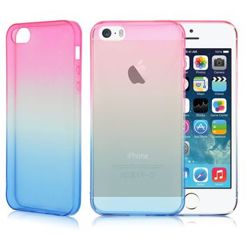 Soft Silicone/Gel/Rubber Clear Transparent Ombre Case Slim Cover For iphone 5 6