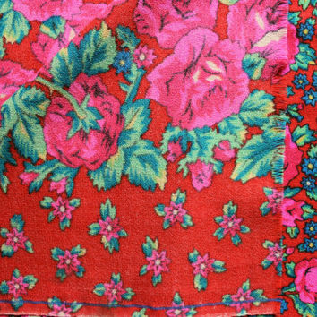 Wide vintage fabric 1.86 yards in 1 listing floral pink red green roses floral hippie gipsy boho kitsch