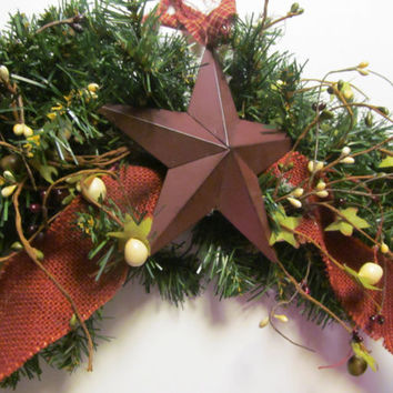 Primitive Christmas Garland Primitive Star Rustic Cabin Decor Christmas Primitive Decor Pipberry Garland Christmas Red Burlap Decor