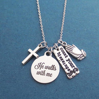 He walks with me, Count your blessings, Cross, Prayer, Silver, Necklace, Gift, Jewelry