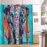 F516XY18 Custom Colorful elephant print Fabric Modern Shower Curtain bathroom Waterproof  LF15
