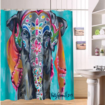 Custom Colorful elephant print Fabric Modern Shower Curtain eco-friendly Waterproof bathroom	curtain With hole Free Shipping