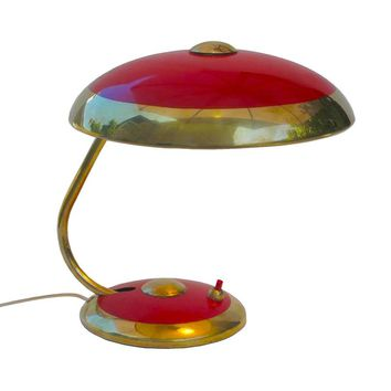 Vintage Mid Century German Table Lamp, Red with Brass Trim