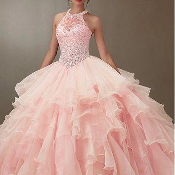 [152.99] Charming Tulle & Organza Jewel Neckline Ball Gown Quinceanera Dresses With Beadings & Rhinestones - dressilyme.com
