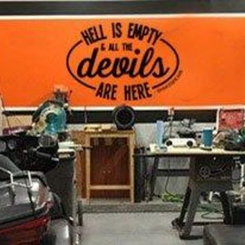 "Lucky Girl Decals Hell Is Empty And All The Devils Are Here SHAKESPEARE Vinyl Wall Decal Sticker 31.5""w x 21""h"