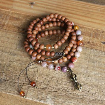 Sandalwood Sacral Chakra Mala Necklace