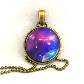 10 SALE Necklace Purple Blue Galaxy Jewelry by timegemstone