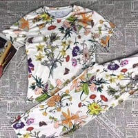 """""""Gucci"""" Woman's Leisure  Fashion  Letter  Personality Printing   Short Sleeve Trousers Two-Piece Set Casual Wear"""