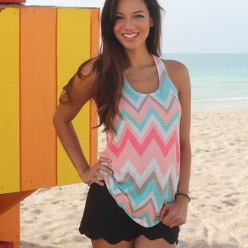 Coral and Mint Chevron Tank Top