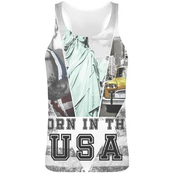 Born In The Usa  Sublimation Tank Top T-Shirt For Men - 100% Soft Polyester - All-Over Printing - Custom Printed Mens Clothing